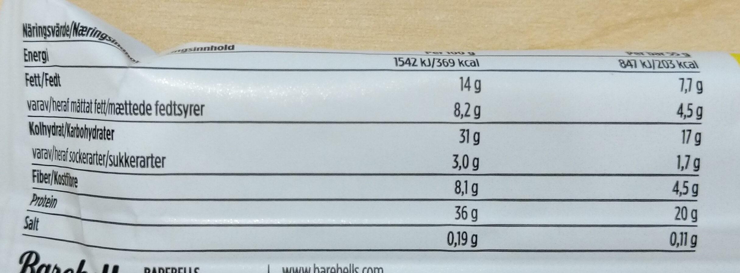 Lemon Curd White Chocolate - Informations nutritionnelles - sv