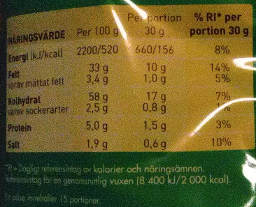 OLW Maxibag Dill & Gräslök - Nutrition facts