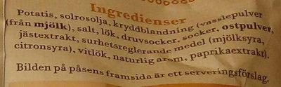 OLW Naturchips Cheddar & Lök - Ingredients