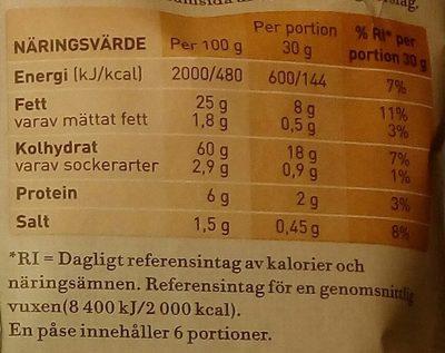 OLW Naturchips Cheddar & Lök - Nutrition facts