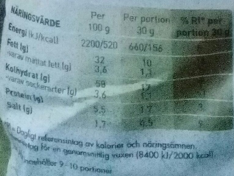 OLW Gyllene hits-chips - Nutrition facts - sv