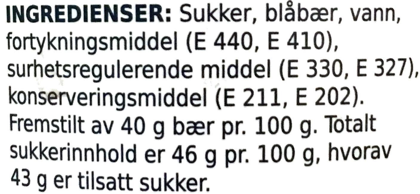 Blåbærsyltetøy - Ingrédients - nb