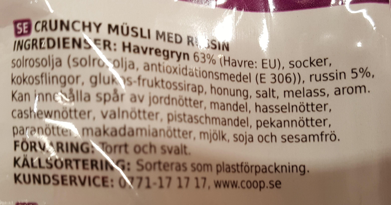 Cruncy Müsli med russin - Ingredients - sv