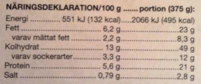 Coop Lasagne - Informations nutritionnelles