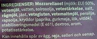 Ostsnacks Mozzarella Krispiga Snacks - Ingrédients - sv