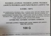 Rooibos Licorice - Ingredienti - sv