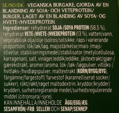 Hälsans Kök Vardagsfavoriter Veganska burgare - Ingredients