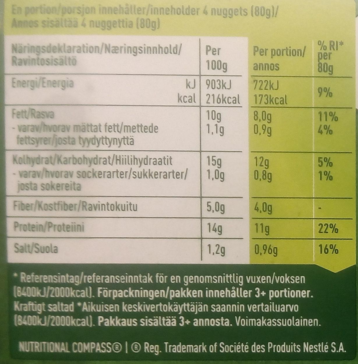 Hälsans Kök Vardagsfavoriter Veganska Nuggets - Informations nutritionnelles - sv