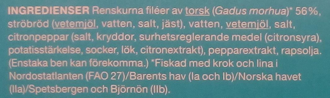 Garant Sprödbakad torskfilé - Ingrédients - sv