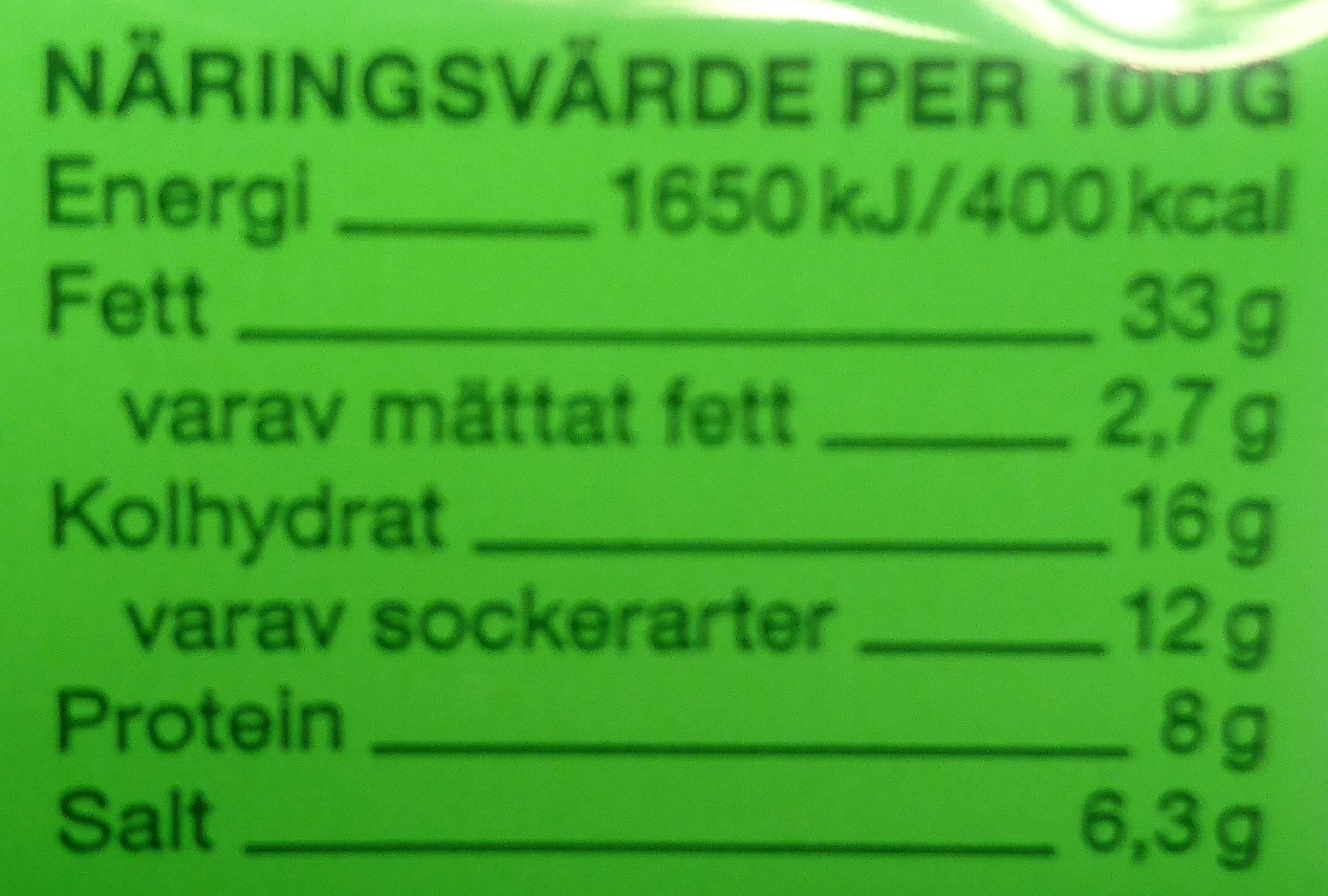 Kaviar, dill, mildrökt - Informations nutritionnelles - sv