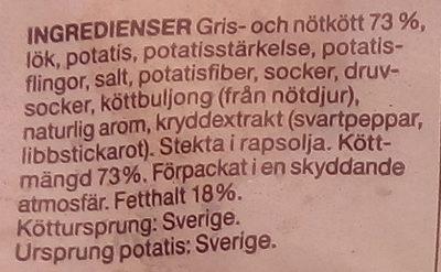 Garant Djupfrysta Köttbullar - Ingrédients - sv