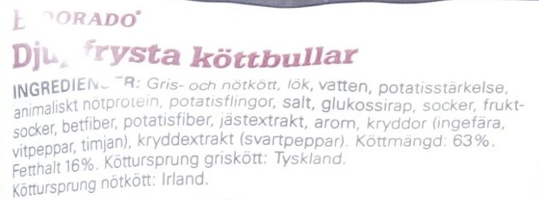 Eldorado Köttbullar - Ingrédients - sv