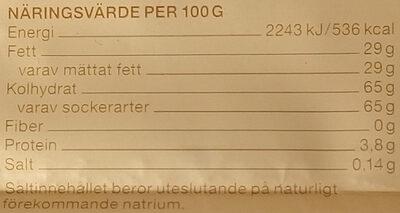 Garant Vit bakchoklad 24 % kakaosmör - Voedingswaarden - sv