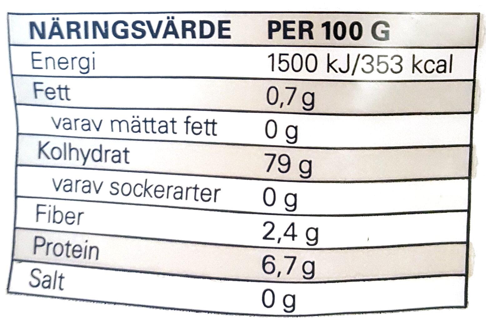 Jasminris - Informations nutritionnelles - sv