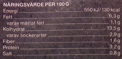 Garant Grönsakslasagne - Informations nutritionnelles - sv