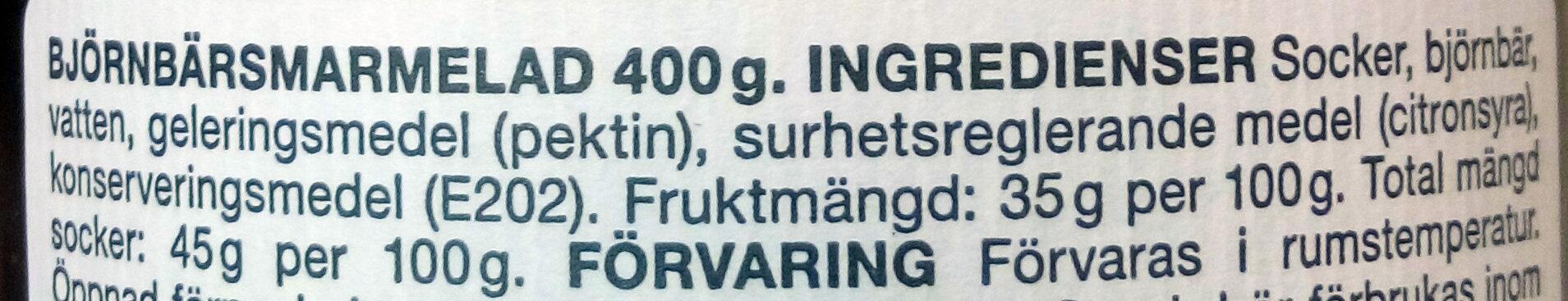 Bjornbars Marmelad - Ingrédients - sv