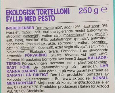 Ekologisk tortelloni fylld med pesto - Ingrédients - sv