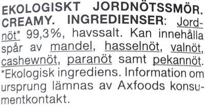 Ekologiskt Jordnötssmör Creamy - Ingredients - sv