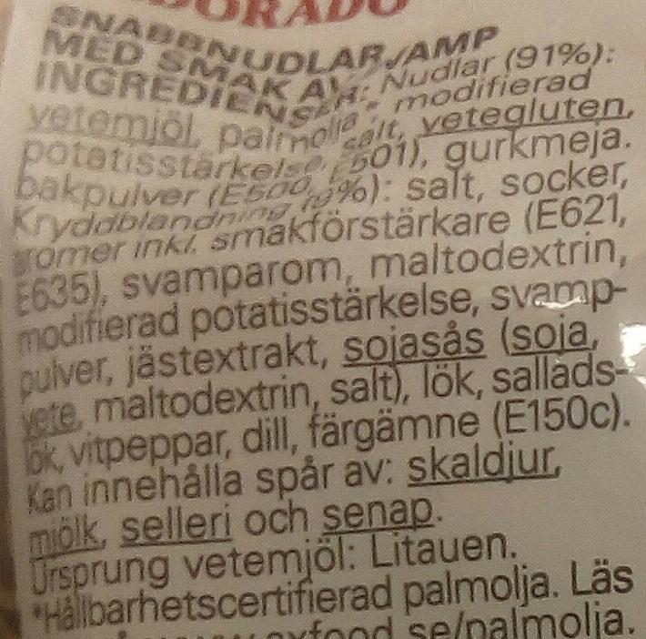 Eldorado Snabbnudlar med smak av svamp - Ingrédients - sv