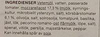 Garant Pizza Mozzarella Pesto - Ingrédients - sv