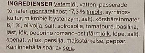 Garant Pizza Mozzarella Pesto - Ingredients