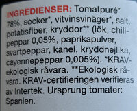 Ekologisk Chilisås Original - Ingredients - sv
