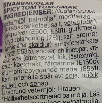 Eldorado Snabbnudlar Spicy Tom Yum - Ingrédients - sv