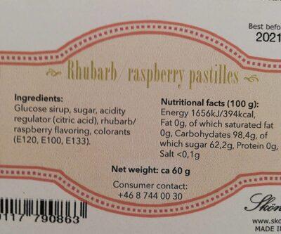 Ruhbarb raspberry pastilles - Información nutricional - es