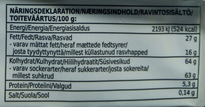 Milk chocolate - Informations nutritionnelles - sv