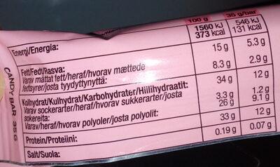 Barre protéinée fraise chocolat blanc - Nährwertangaben