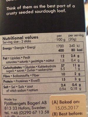 Lamelles de pain croustillant noir & blanc - Informations nutritionnelles