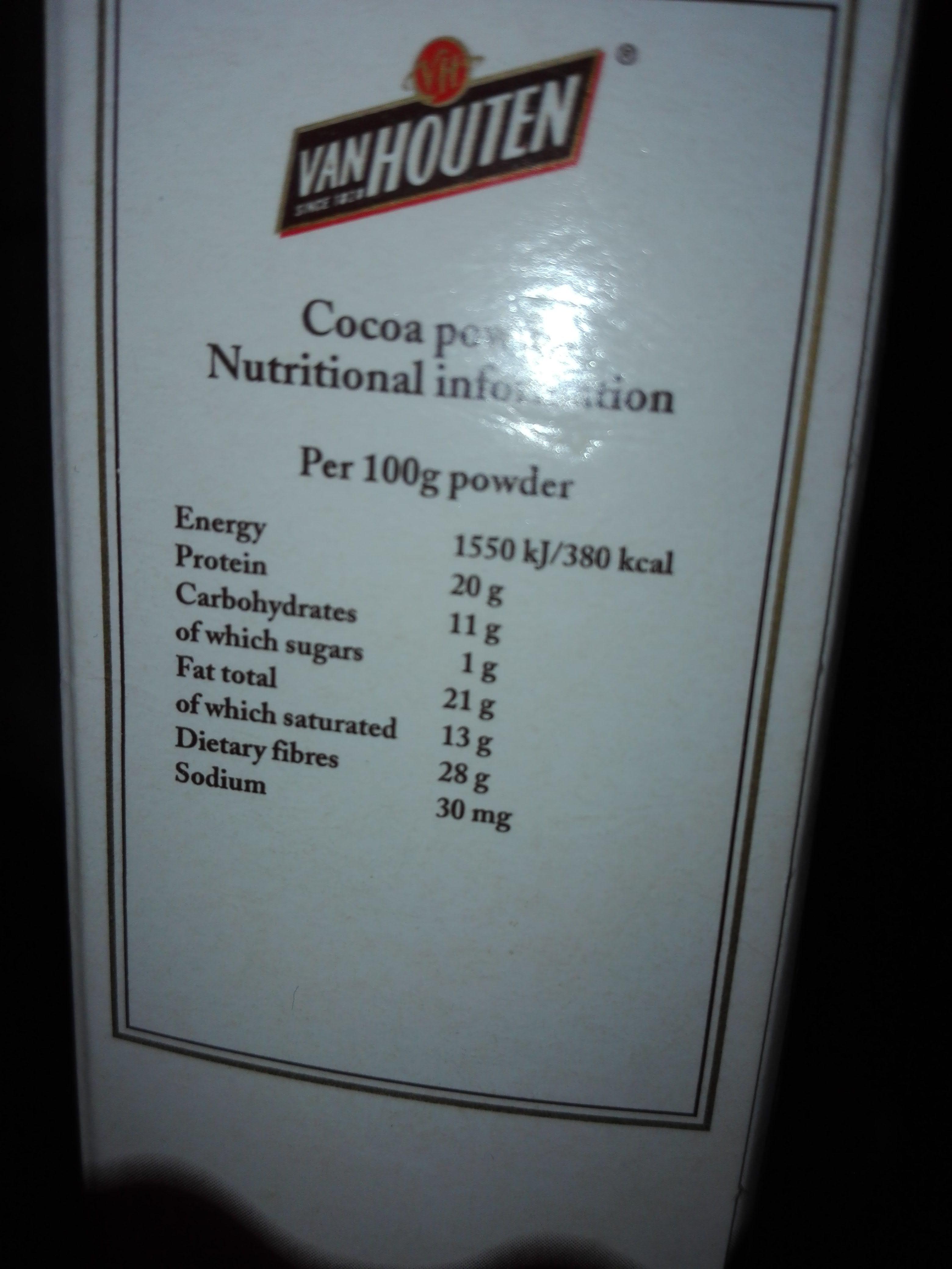 Cacao En Poudre Naturel 125gr Sans Sucre. - Informations nutritionnelles