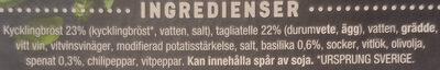 Lantmännen Gooh! Kycklingbröst i basilikasås - Ingrédients - sv