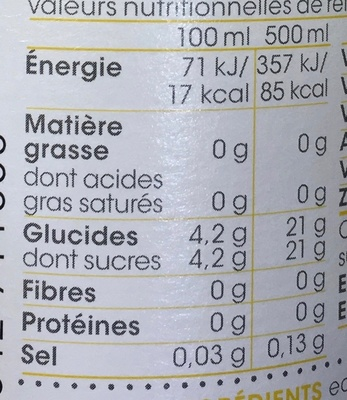 Defence - Informations nutritionnelles