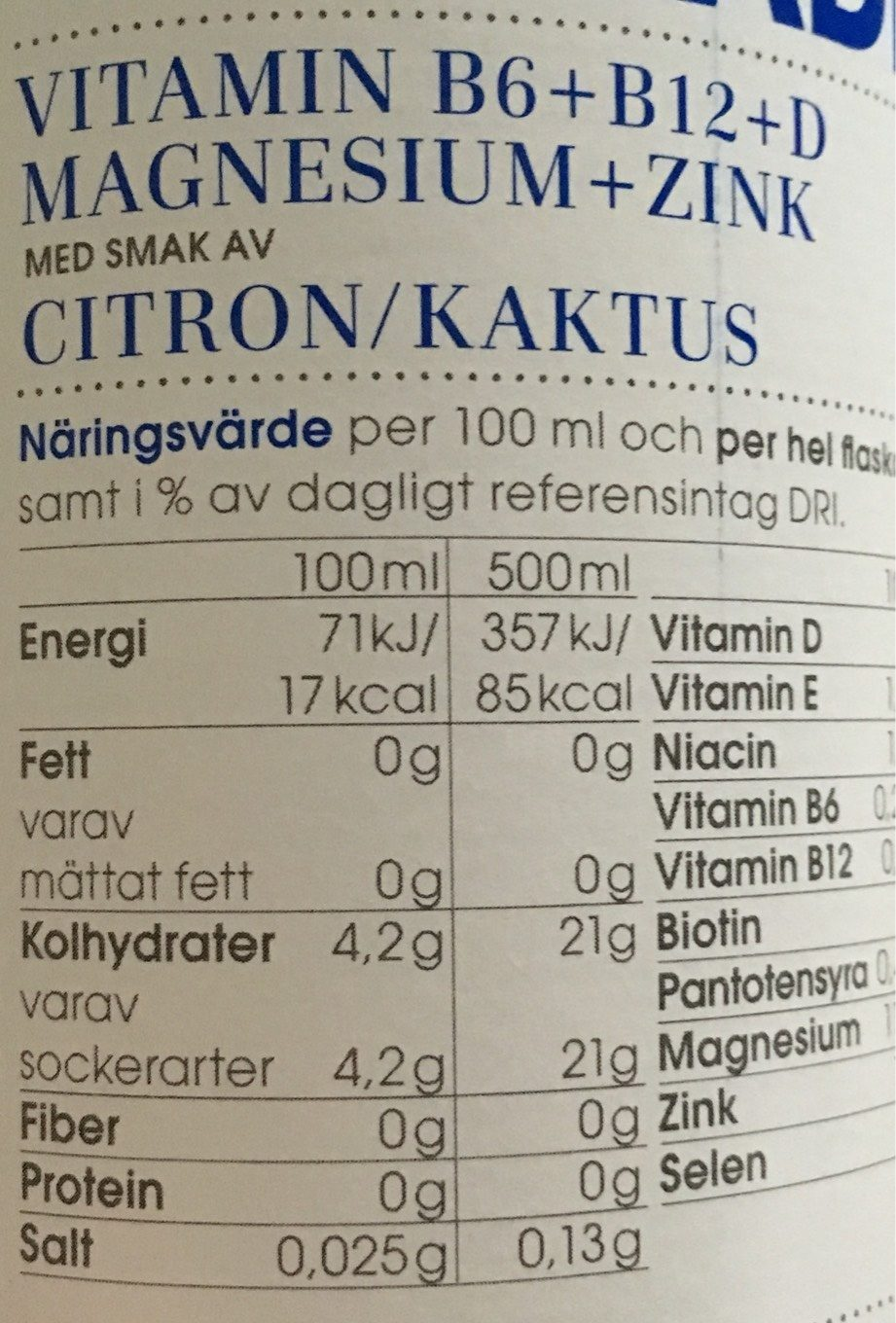 Vitamin Well Upgrade - Nutrition facts