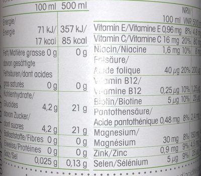 Vitamin Well Everyday 500ML - Informations nutritionnelles