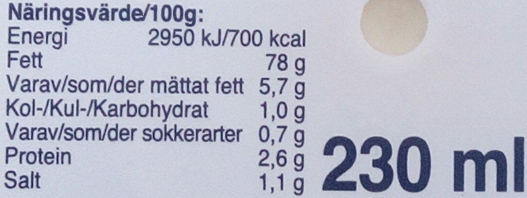 Eriks Parmesansås - Informations nutritionnelles - sv
