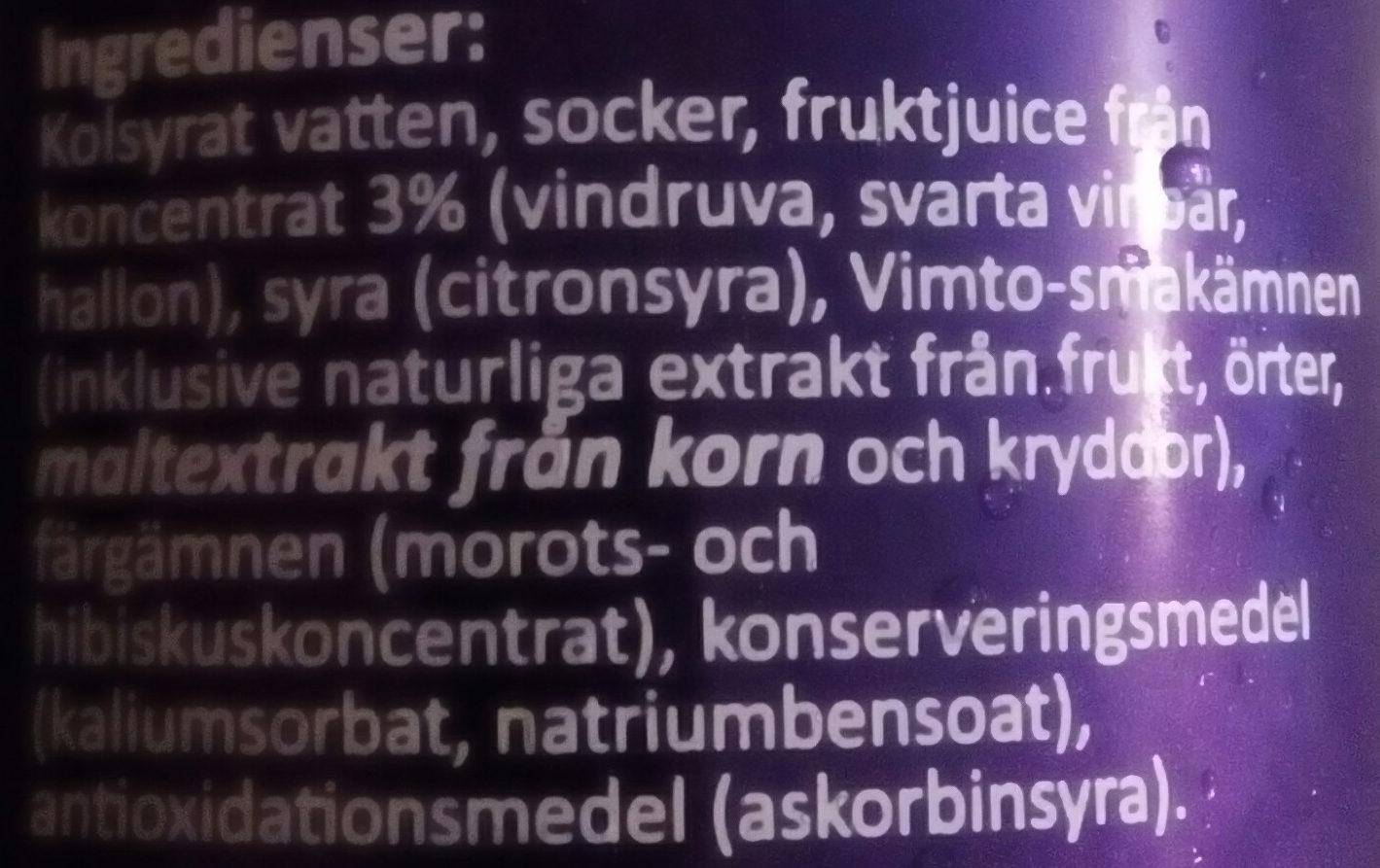 Vimto Fizzy - Ingredients