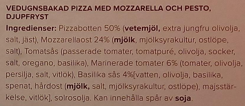 Paolos Vedugnsbakad Pizza Pesto Mozzarella e pesto - Ingredients