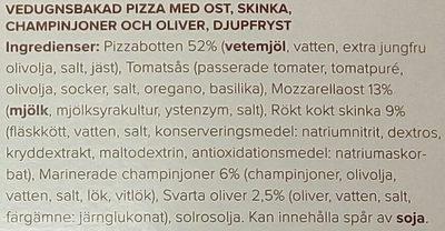 Paolos Vedugnsbakad Capricciosa Mozzarella, prosciutto, funghi e olive - Ingredients