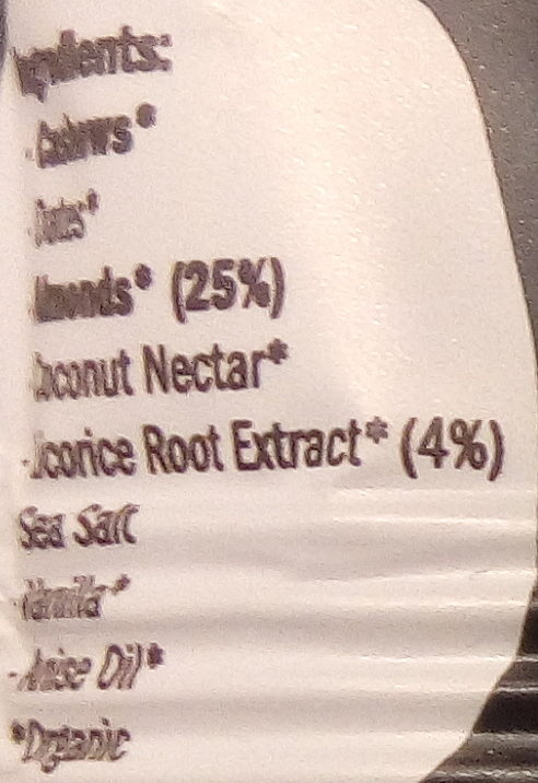 Getraw Licorice & Almond Bar - Ingredients - en