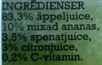 Loviseberg Råsaft Spenat, äpple, ananas, citron - Ingredients