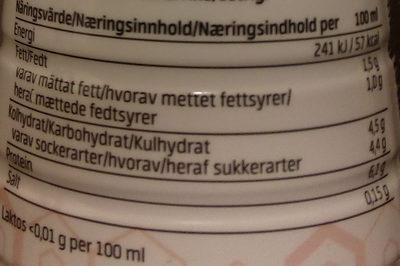 Njie ProPud Proteinmilkshake White Chocolate Raspberry Flavour - Voedingswaarden - sv