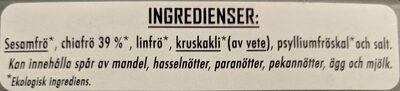 Ekologiskt Chia Knäckebröd - Ingredients - sv