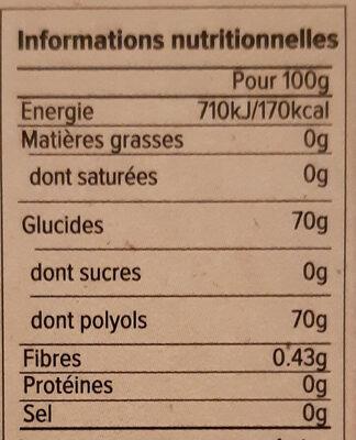 Chewing gum goût tropical - Nährwertangaben - fr