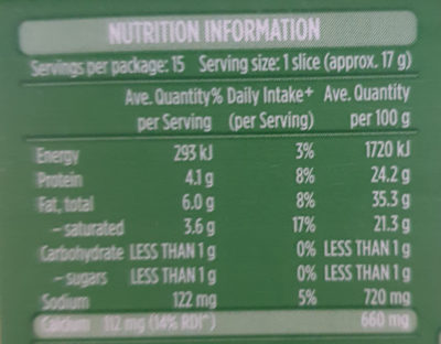 tasty cheese slices - Nutrition facts - en