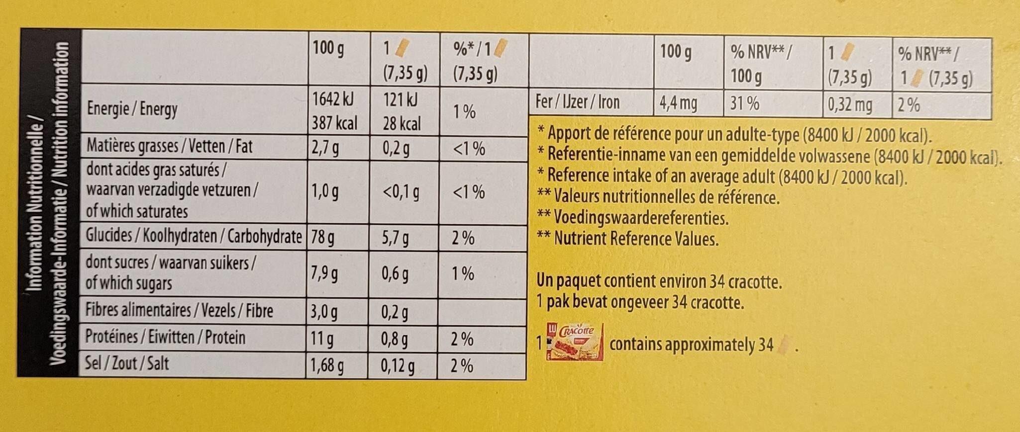 Cracotte - Valori nutrizionali - fr