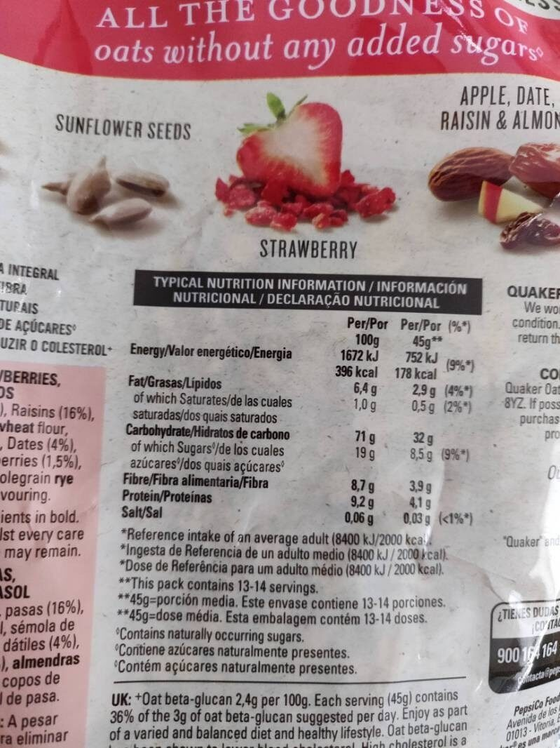 Oat muesli strawberry - Informations nutritionnelles - es