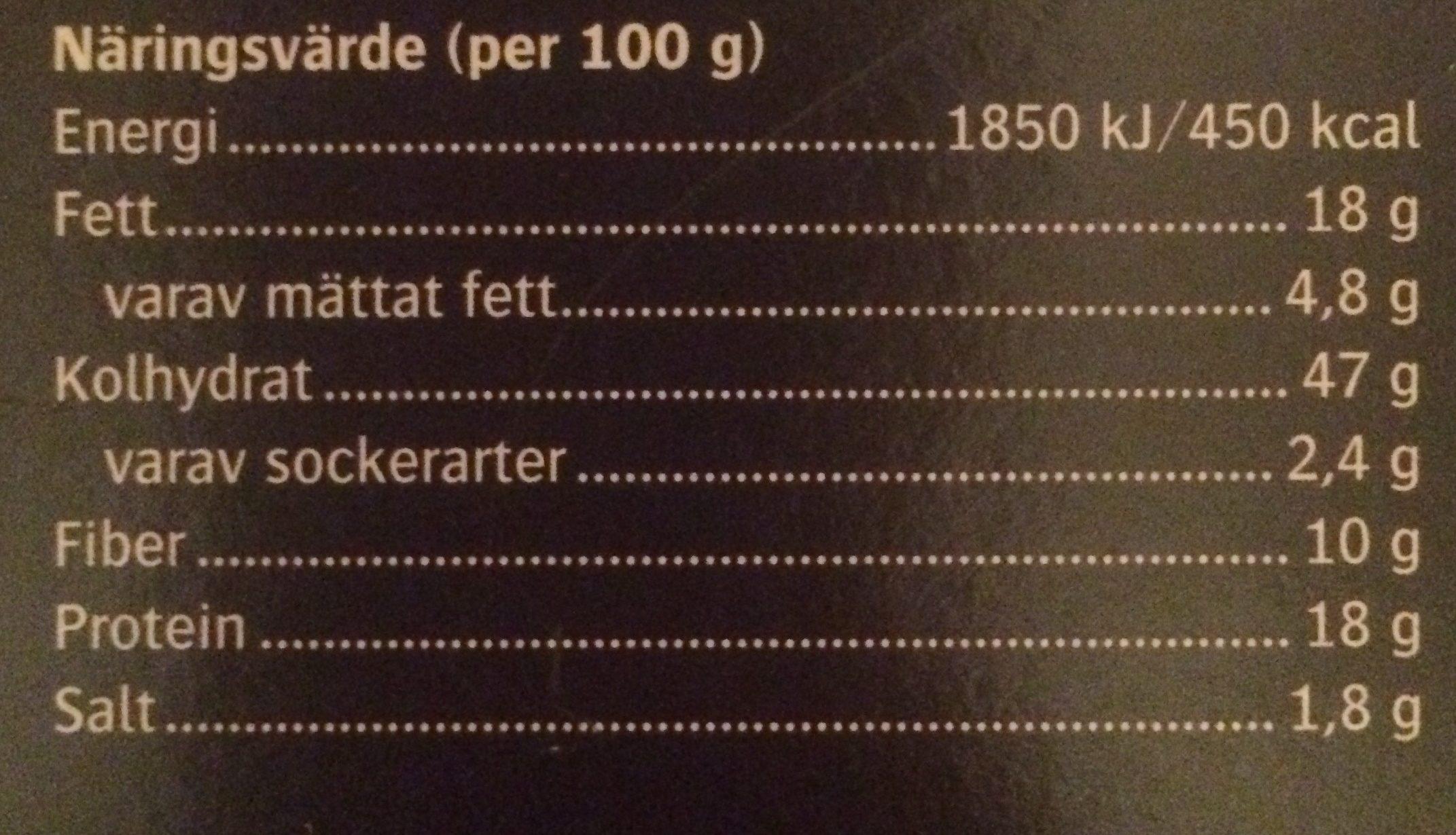 Gourmetknäcke Ost & Pumpa 200G - Ingredients