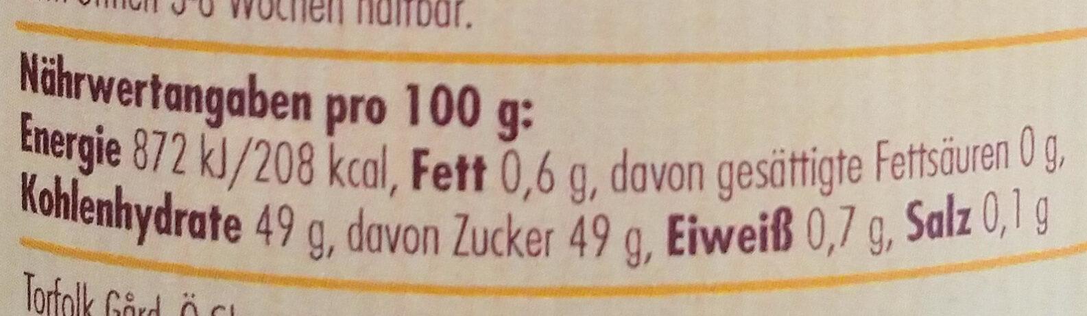 Schwarze Johannisbeer-Konfitüre - Voedingswaarden - de